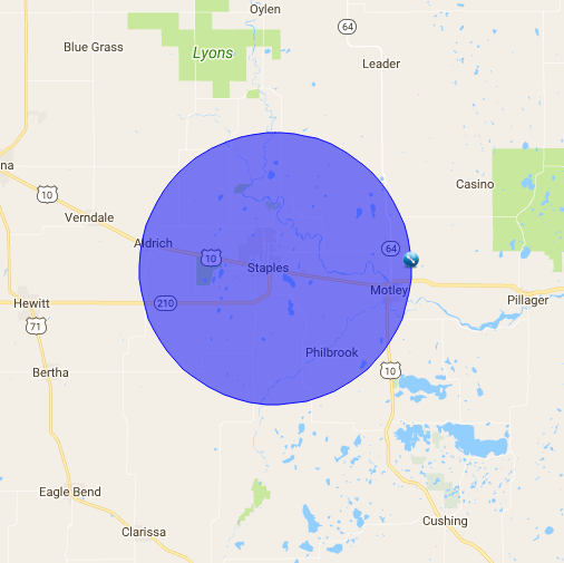 Map showing a radius around Staples, MN.